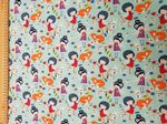 Fairy and the Fox material - Jersey Fabric 95% Cotton 5% Spandex - Price Per Metre